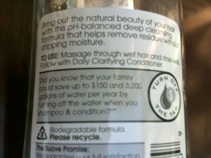 Water saving recommendation on a shampoo label